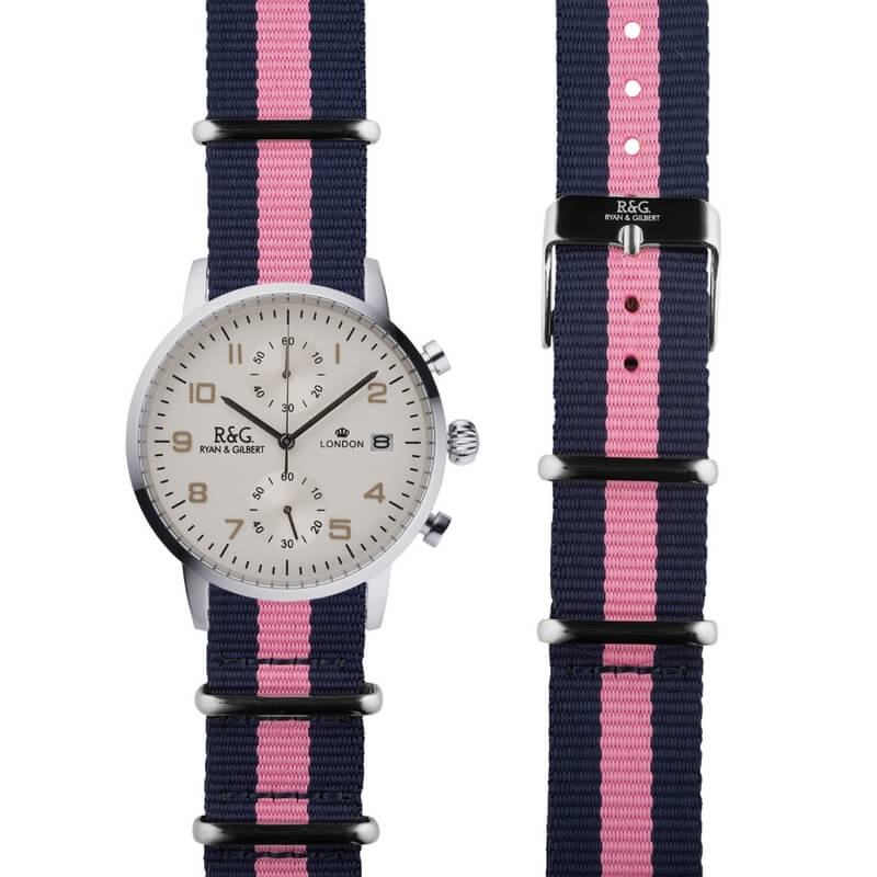 NATO Westminster Silver - Pink & Navy