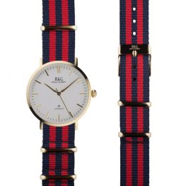NATO Belgravia in Gold- White dial- Red & Navy