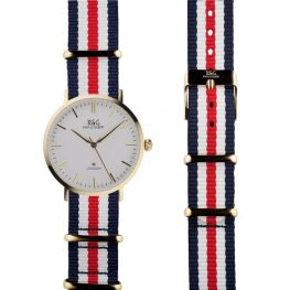 NATO Belgravia in Gold- White dial- Red, White & Blue