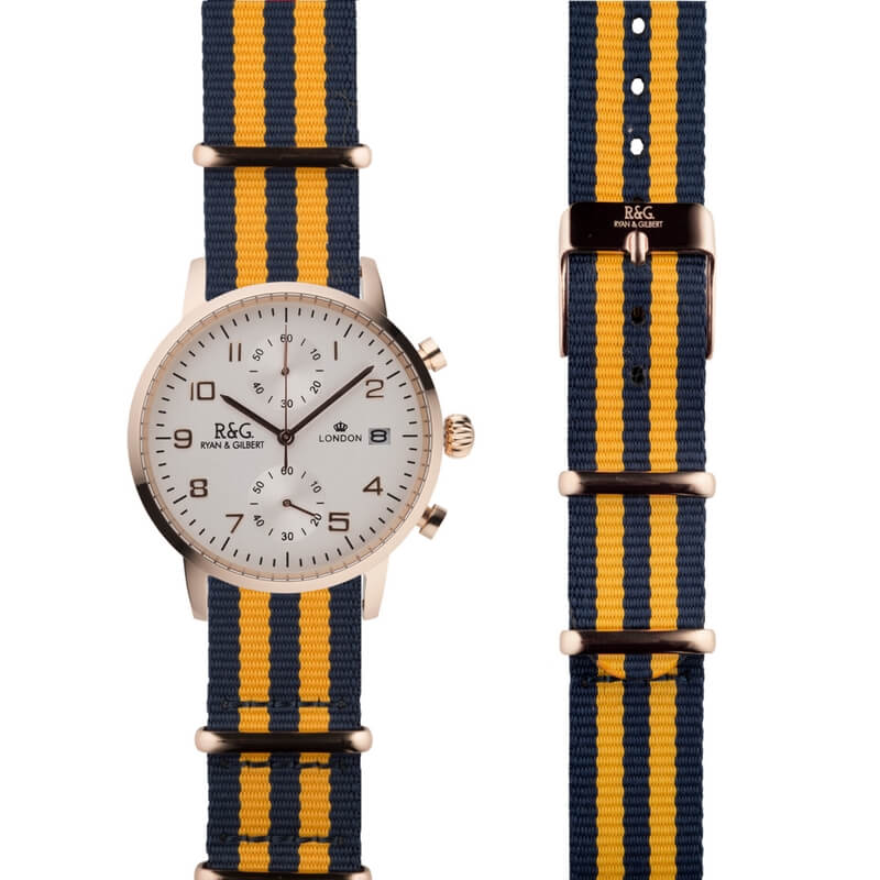 NATO Westminster Rose Gold - Yellow & Navy