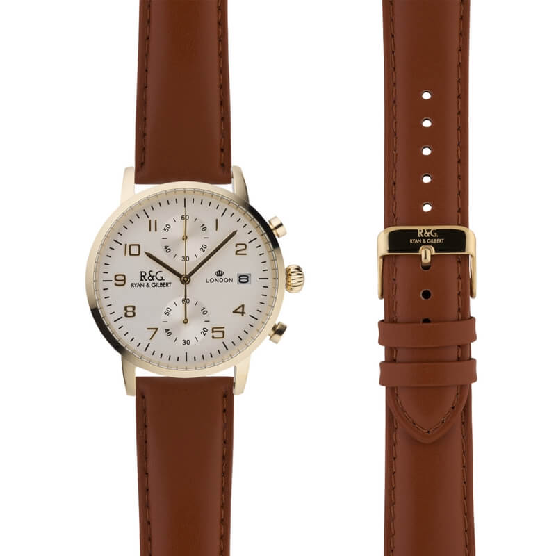 Westminster in Gold- Tobacco Strap