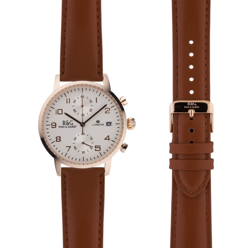 Westminster in Rose Gold- Tobacco Strap