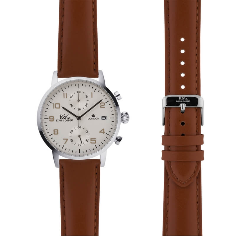 Westminster in Silver- Tobacco Strap