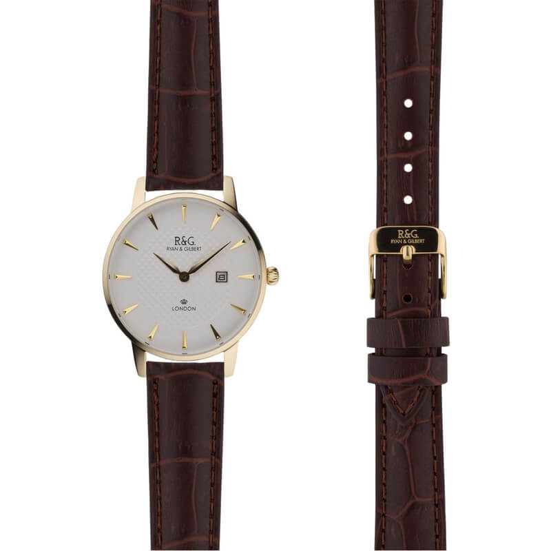 Mayfair in Gold- Brown Alligator Strap