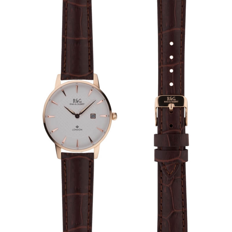 Mayfair in Rose Gold- Brown Alligator Strap