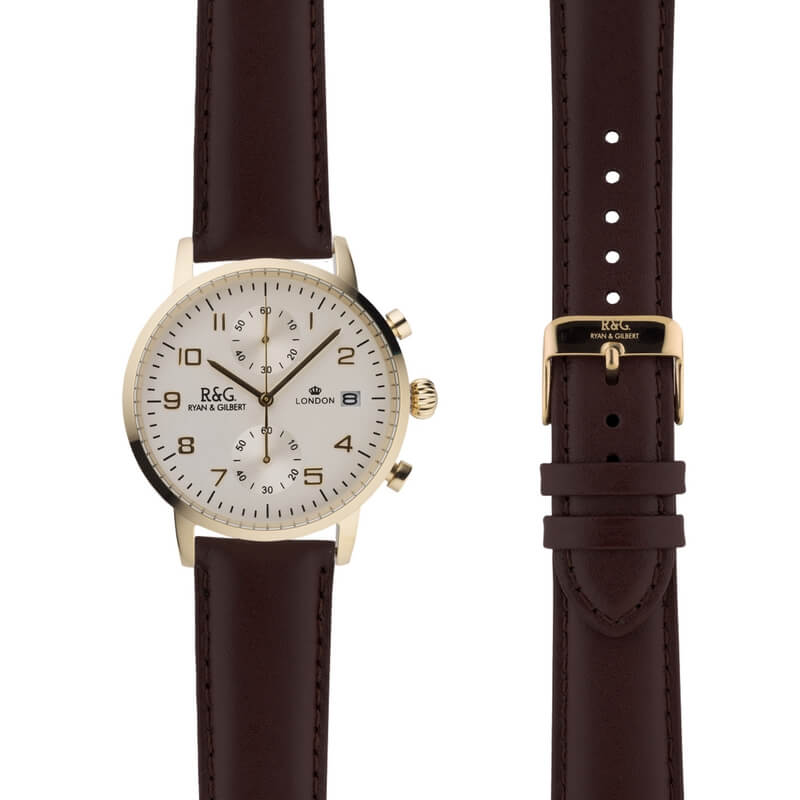 Westminster in Gold- Brown Strap
