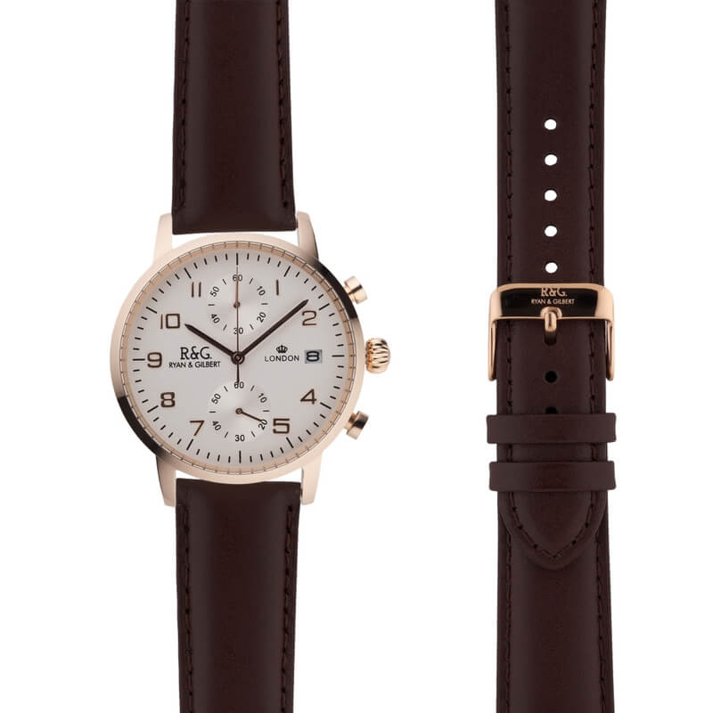 Westminster in Rose Gold- Brown Strap