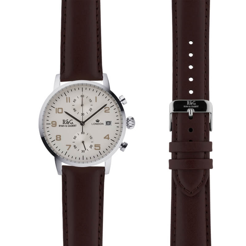 Westminster in Silver- Brown Strap