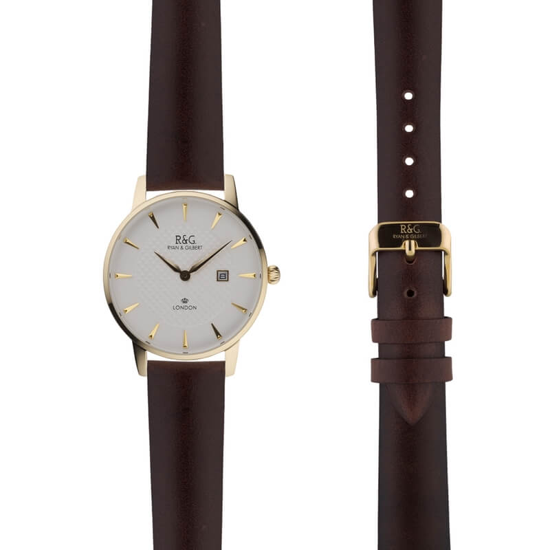 Mayfair in Gold- Brown Strap