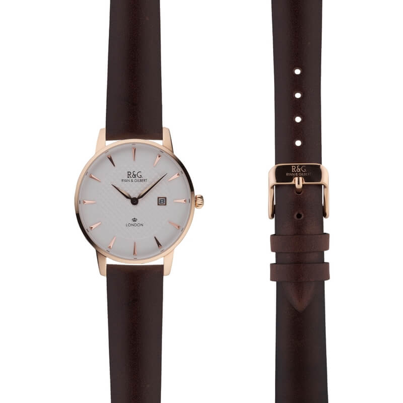 Mayfair in Rose Gold- Brown Strap