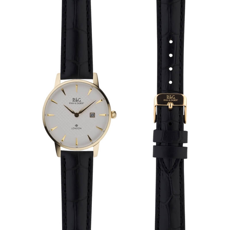 Mayfair in Gold- Black Alligator Strap