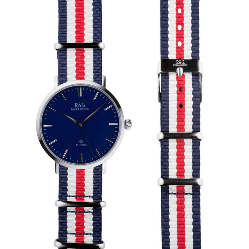 NATO Belgravia in Silver- Navy dial- Red, White & Blue