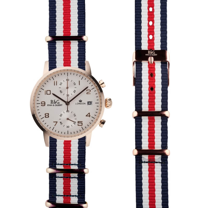 NATO Westminster Rose Gold - Red, White & Blue