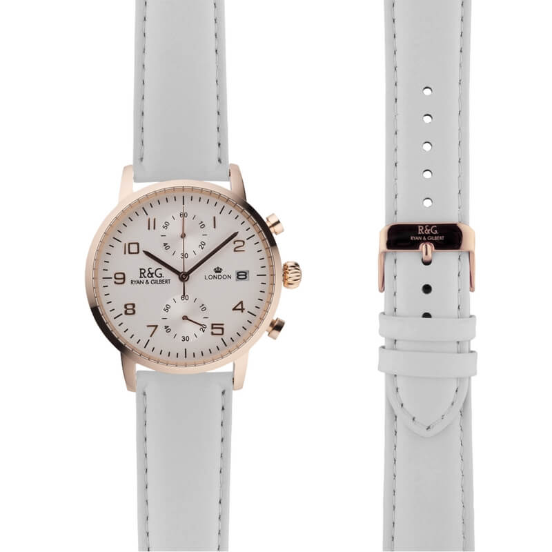 Westminster in Rose Gold- White Strap