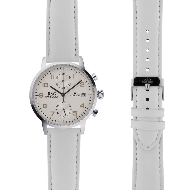 Westminster in Silver- White Strap