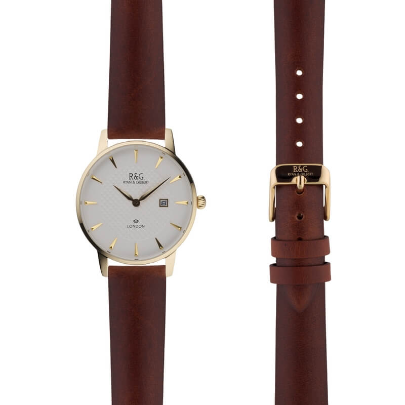 Mayfair in Gold- Tobacco Strap
