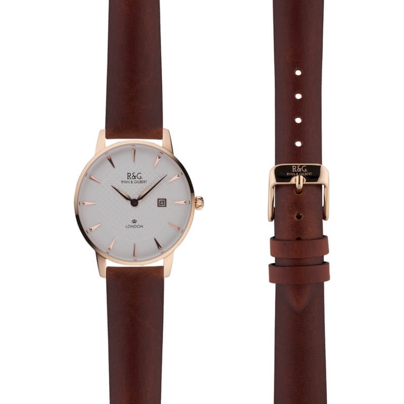 Mayfair in Rose Gold- Tobacco Strap