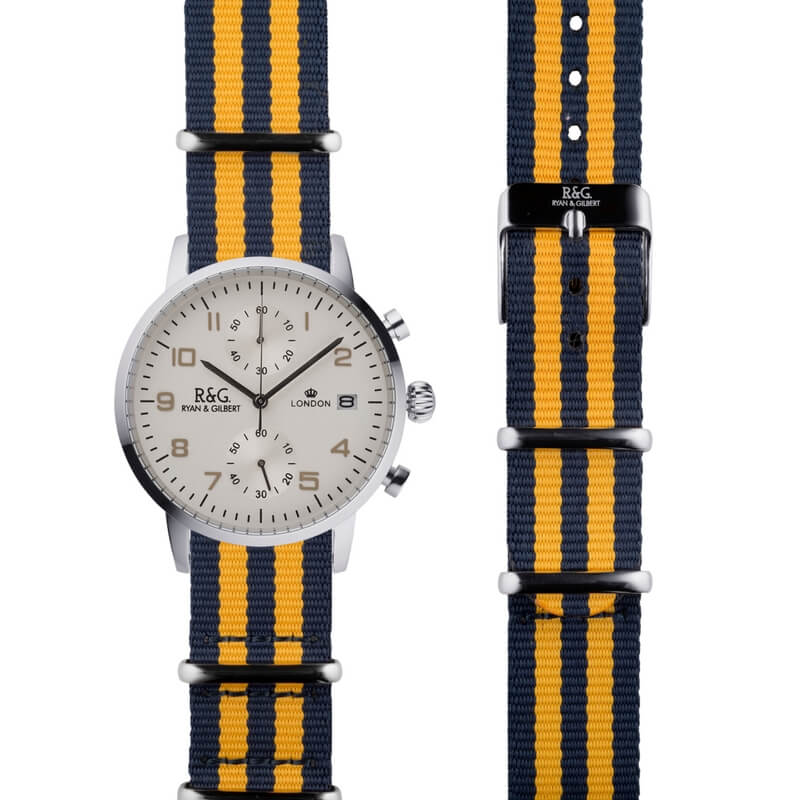 NATO Westminster Silver - Yellow & Navy