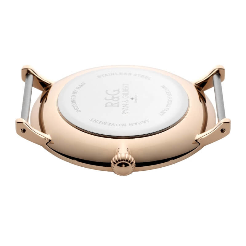 Belgravia Rose Gold black watch back