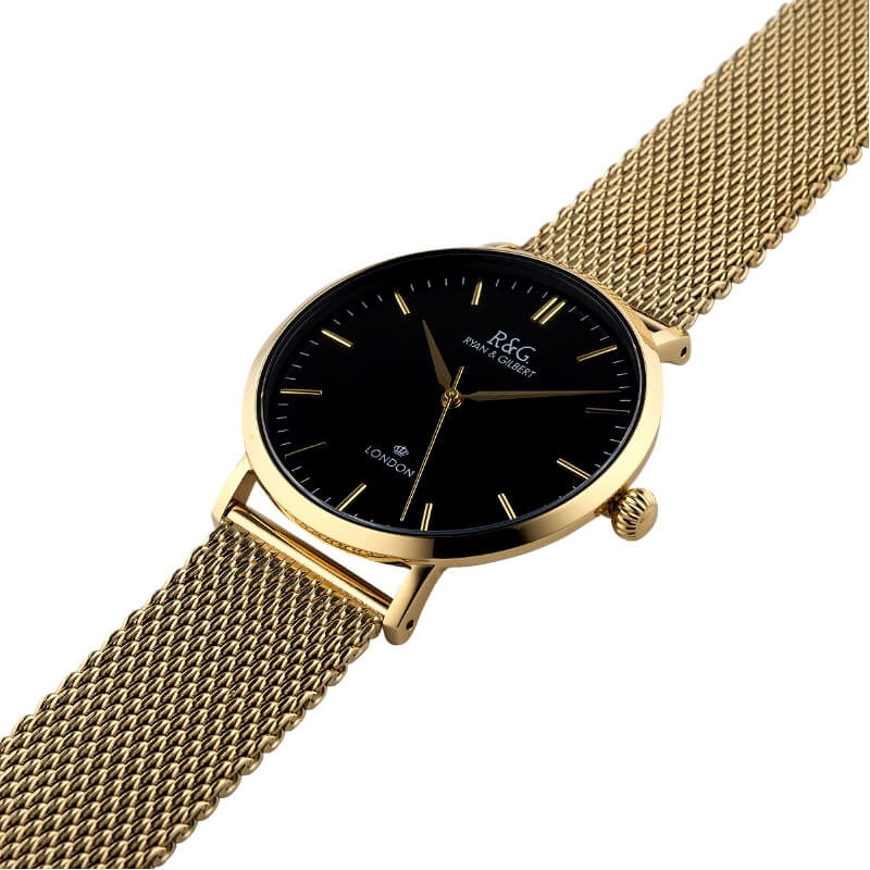 Belgravia watch Gold Black side
