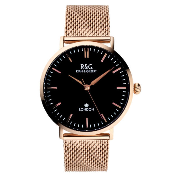 Belgravia Rose Gold black watch front