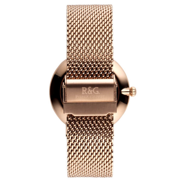 Belgravia Rose Gold black watch Rear
