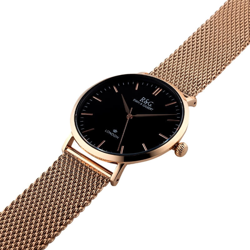 Belgravia Rose Gold black watch side