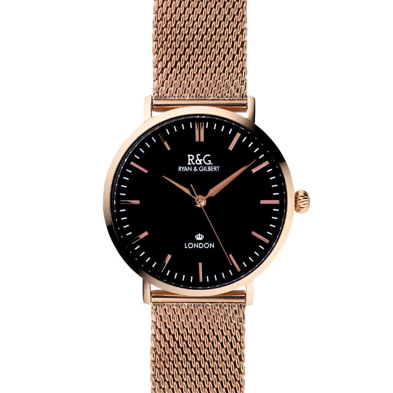 Belgravia Rose Gold black watch long