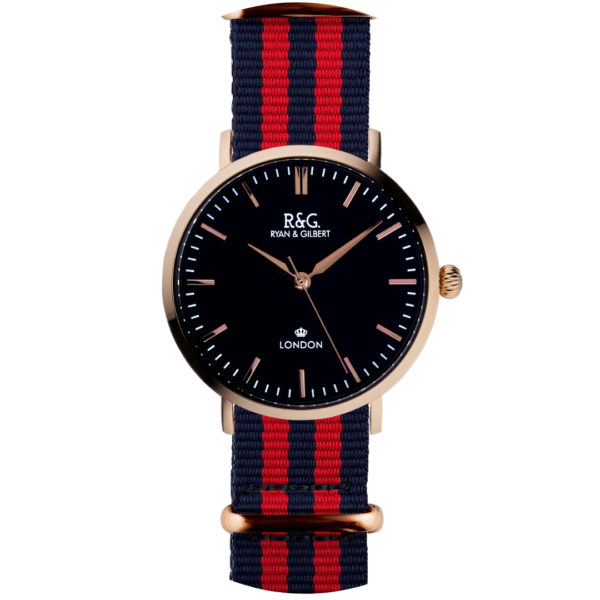 NATO Belgravia Rose Gold / Black - Red