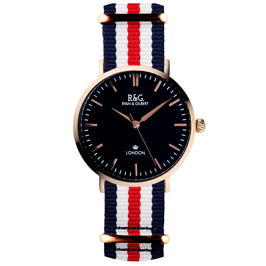 NATO Belgravia Rose Gold / Black - Red, white and blue