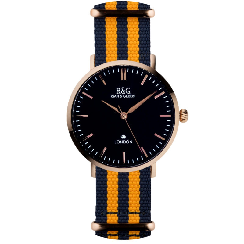 NATO Belgravia Rose Gold / Black - Yellow