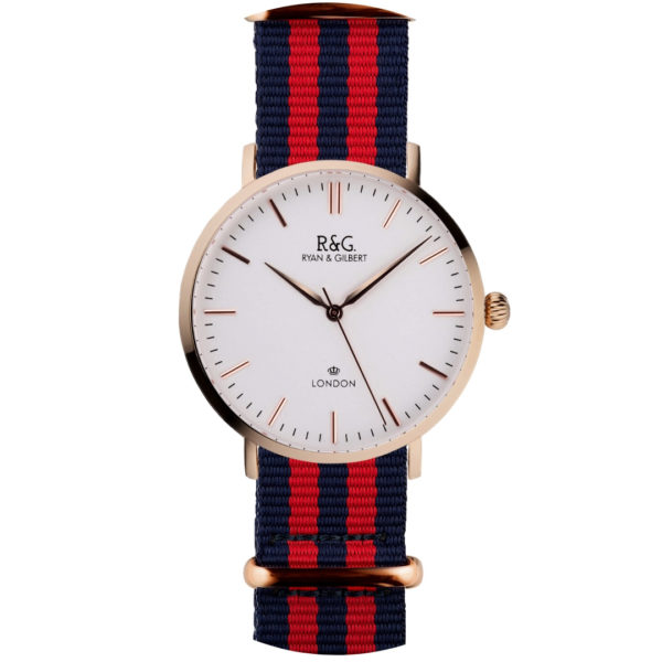 NATO Belgravia Rose Gold / White - Red
