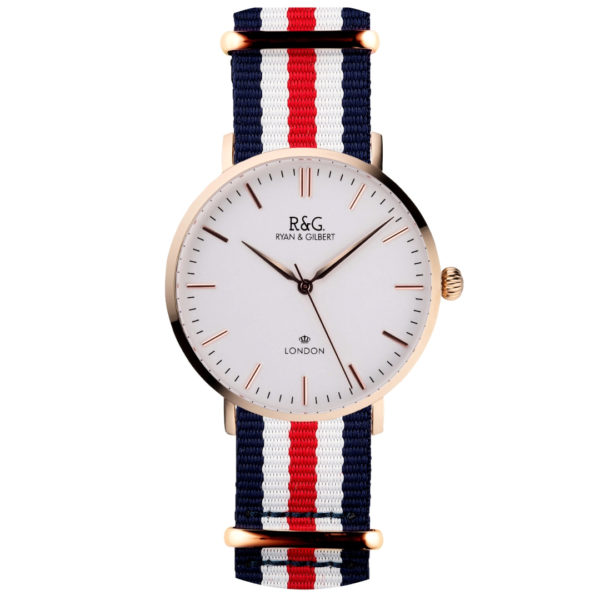 NATO Belgravia Rose Gold / White - Red, white & blue