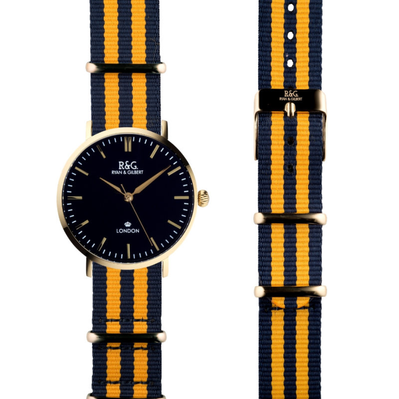 NATO Belgravia Gold / Black - Yellow side by side