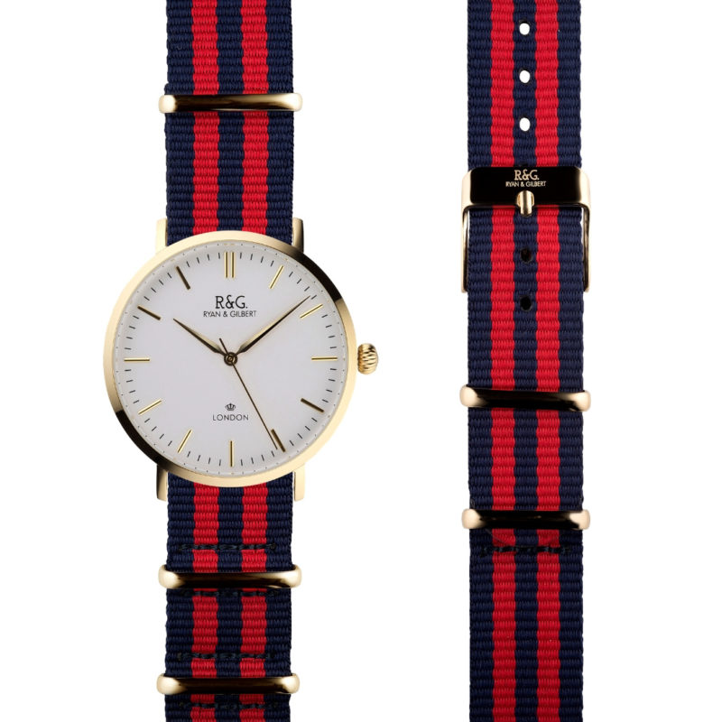 NATO Belgravia Gold / White - Red side by side