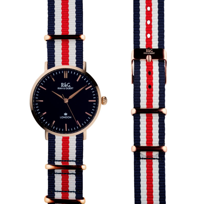 NATO Belgravia Rose Gold / Black - Red, white, blue side by side
