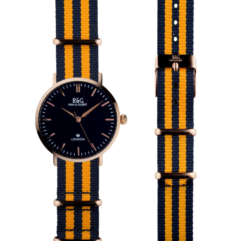 NATO Belgravia Rose Gold / Black - Yellow side by side