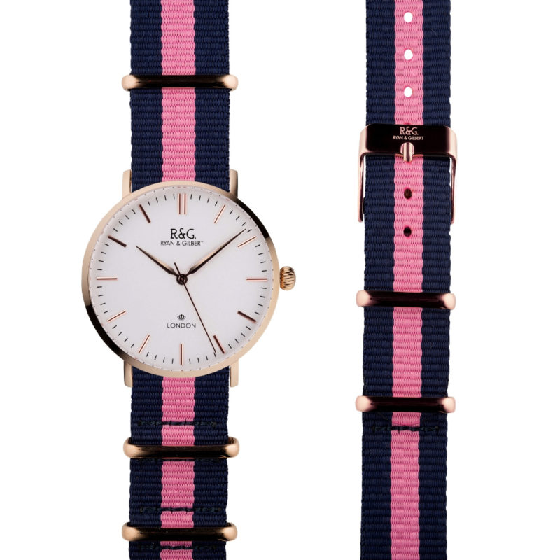NATO Belgravia Rose Gold / White - pink side by side