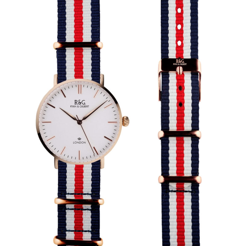 NATO Belgravia Rose Gold / White - Red, white & blue side by side