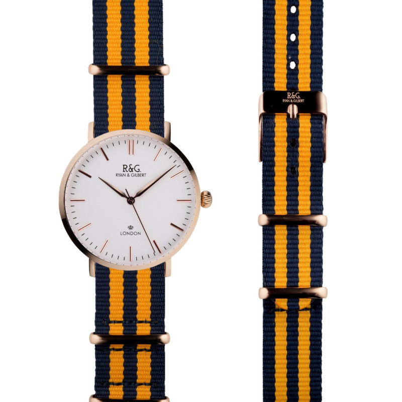 NATO Belgravia Rose Gold / White - Yellow side by side