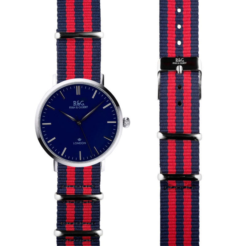 NATO Belgravia Silver / Navy - Red side by side