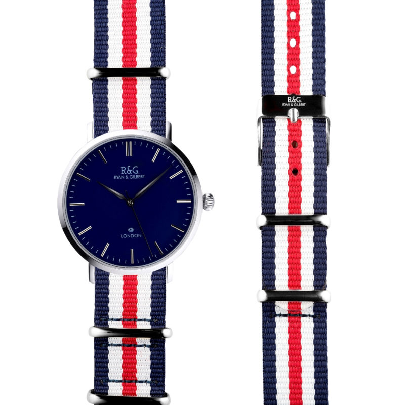NATO Belgravia Silver / Navy - Red, White & Blue side by side