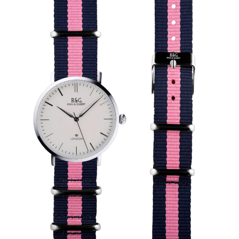 NATO Belgravia Silver / White - pink side by side