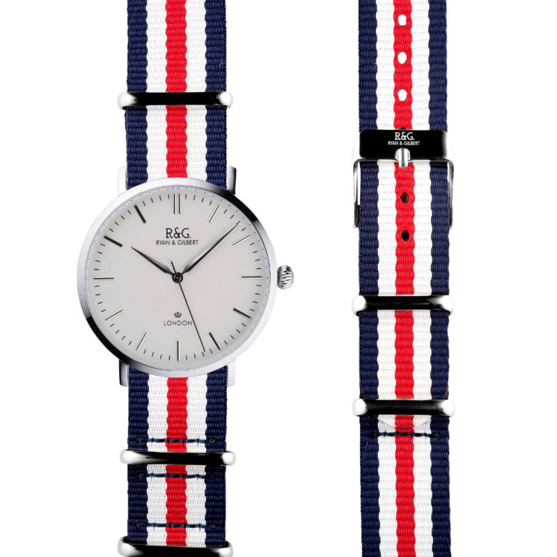 NATO Belgravia Silver / White - Red, white & Blue side by side