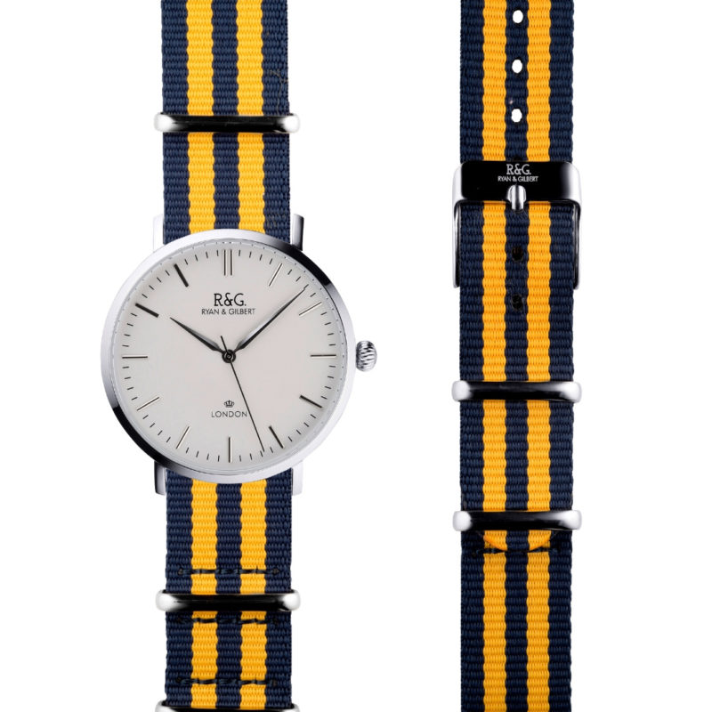 NATO Belgravia Silver / White - Yellow side by side