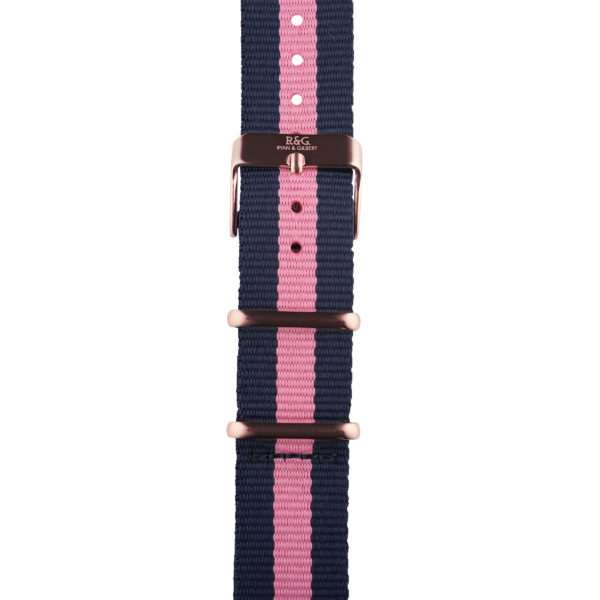 20mm | NATO Pink / Navy | English Rose Gold buckle