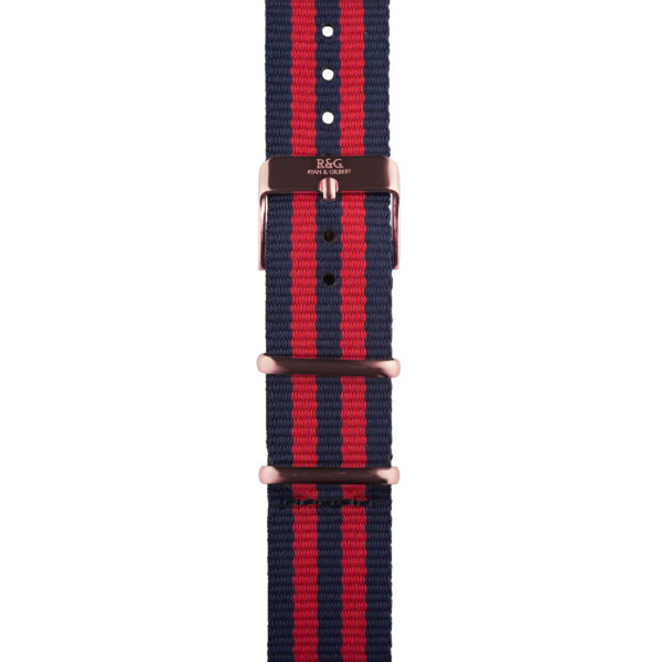 20mm | NATO Red / Navy | English Rose Gold buckle