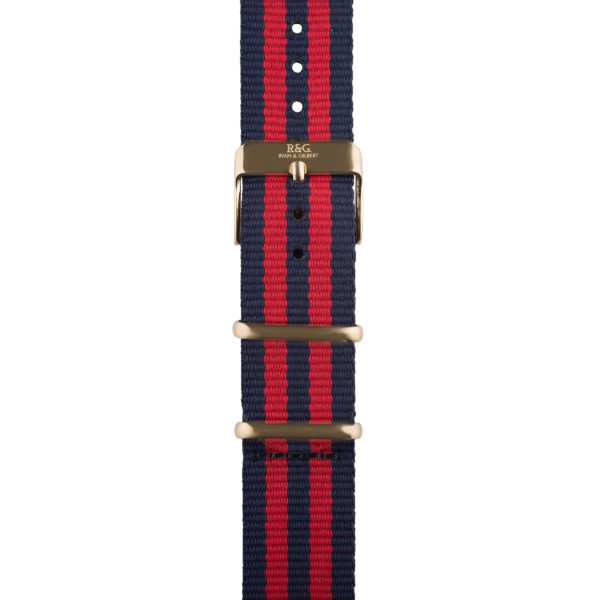 20mm | NATO Red / Navy | Gold buckle