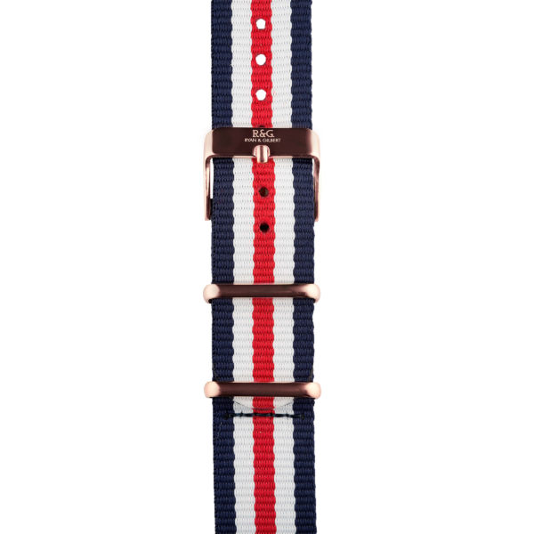 20mm | NATO Red / White / Blue | English Rose Gold buckle