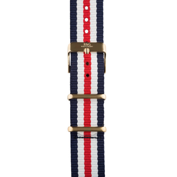 20mm | NATO Red / White / Blue | Gold buckle